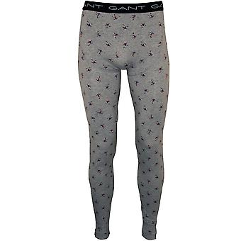 Gant skiër Print Cotton Stretch Long Johns, grijs Melange