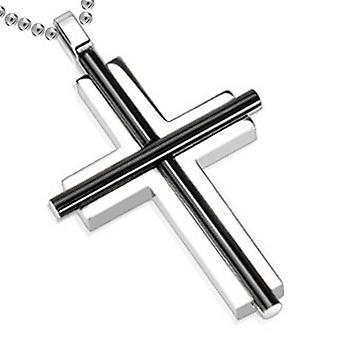 Oval Cylinder Bar Over Kors vedhæng to Tone Black, rustfrit stål smykker med kæde