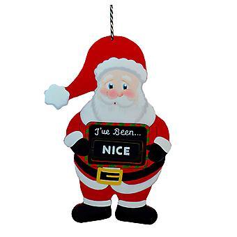 TRIXES 20cm Naughty or Nice Wooden Hanging Decoration Santa Design