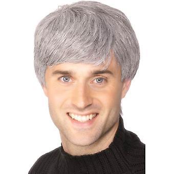 Short Grey Straight Wig, Modern  Cut, Corporate Guy, Businessman Wig