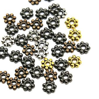 Packet 70+ Mixed Tibetan 5mm Flower Spacer Beads HA15400