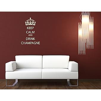Keep Calm And Drink Champagne Wall Sticker Quote