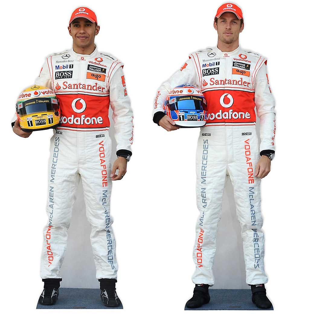 Lewis Hamilton and Jenson Button Formula 1 Driver Lifesize Cardboard Cutout / Standee Set