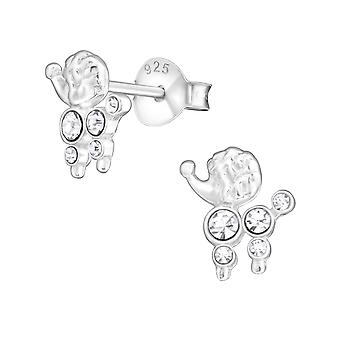Pudel Hund - 925 Sterling Silber Crystal Ohrstecker - W17466X