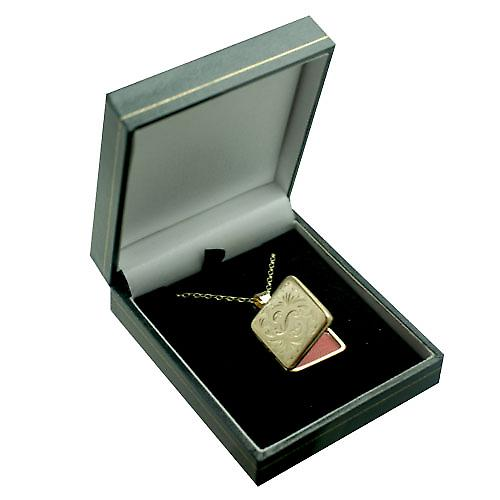 9ct yellow gold 22mm flat square hand engraved Locket with a belcher chain