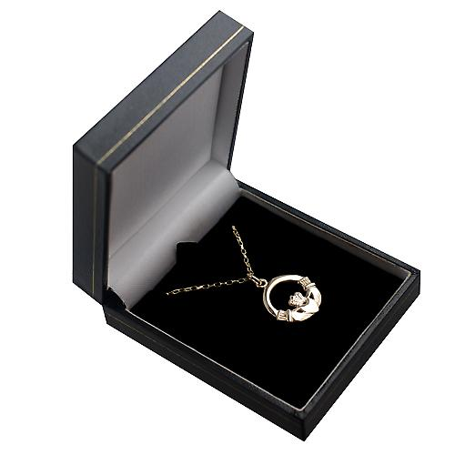9ct Gold 20mm Claddagh Pendant with a belcher Chain 16 inches Only Suitable for Children