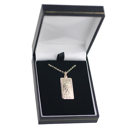 9ct Gold 26x13mm rectangular St Christopher Pendant with belcher Chain 16 inches Only Suitable for Children