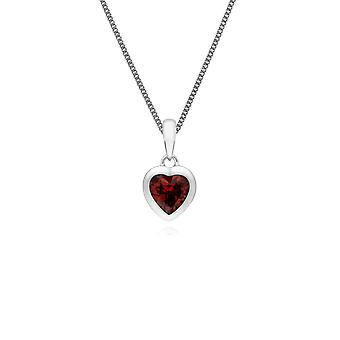 Gemondo Sterling Silver Single Stone Garnet Heart Pendant on 45cm Chain