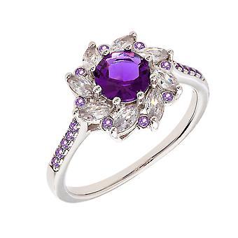 Bertha Juliet Collection Women's 18k WG Plated Purple Flower Fashion Ring Size 5