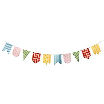 9ft Large Multicoloured Patterned Card Bunting - Vintage or Circus Vibe