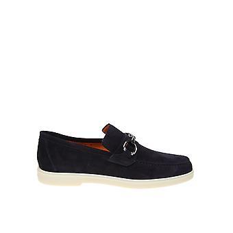 Santoni Blue Suede Loafers