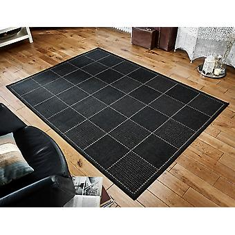 Checked Flatweave Black Black Rectangle Rugs Plain/Nearly Plain Rugs