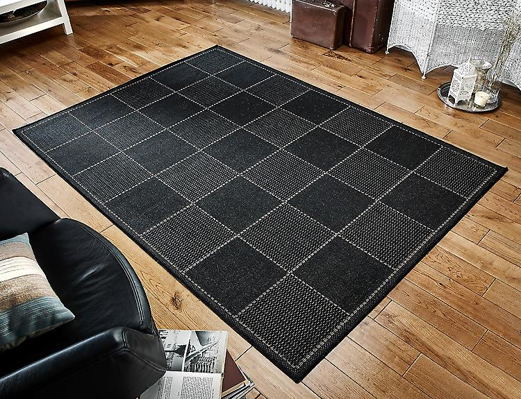 Checked Flatweave Black Black  Runner Rugs Plain/Nearly Plain Rugs