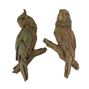 Rood en groen gesneden oude hout kijken papegaai muur sculptuur set
