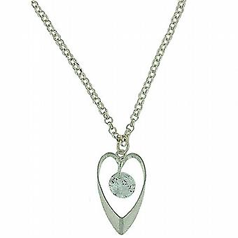 Park Lane Ladies Open Heart Pendant with Glass Bead on Silvertone Chain