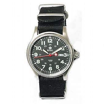 Royal London Herren Kalender schwarzes Zifferblatt & schwarzem Nylon Strap Watch 41018-08
