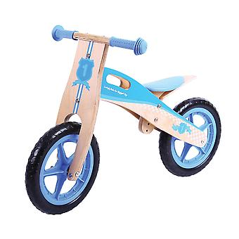 Bigjigs Toys Wooden My First Balance Bike (Blue) Stable Running Kids Toddler