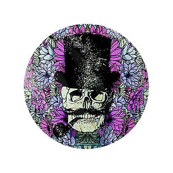 Grindstore Floral Skull Circular Glass Chopping Board
