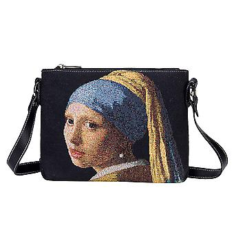Vermeer - girl with a pearl earring crossbody bag by signare tapestry / xb02-art-jv-girl