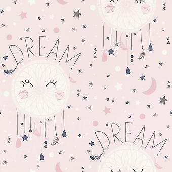 Meisjes roze behang droom catcher sterren maan typografie wit grijs Rasch