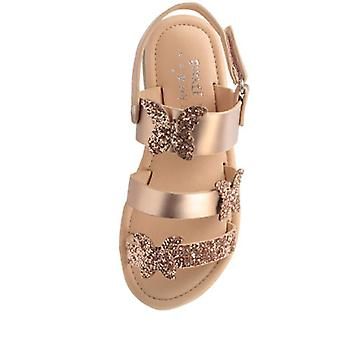 Girls gold sparkly flat sandals with butterfly trims