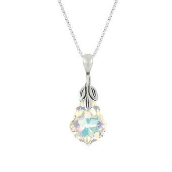 Eternal Collection Baroque Aurora Borealis Austrian Crystal Sterling Silver Pendant Necklace