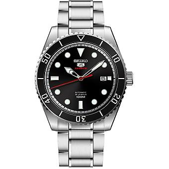 Seiko 5 Sports Silver Stainless Steel Black Dial Automatic Mens Watch SRPB91K1 44mm