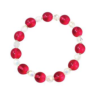 Eternal Collection Morning Dew Cranberry Czech Crystal Stretch Bracelet