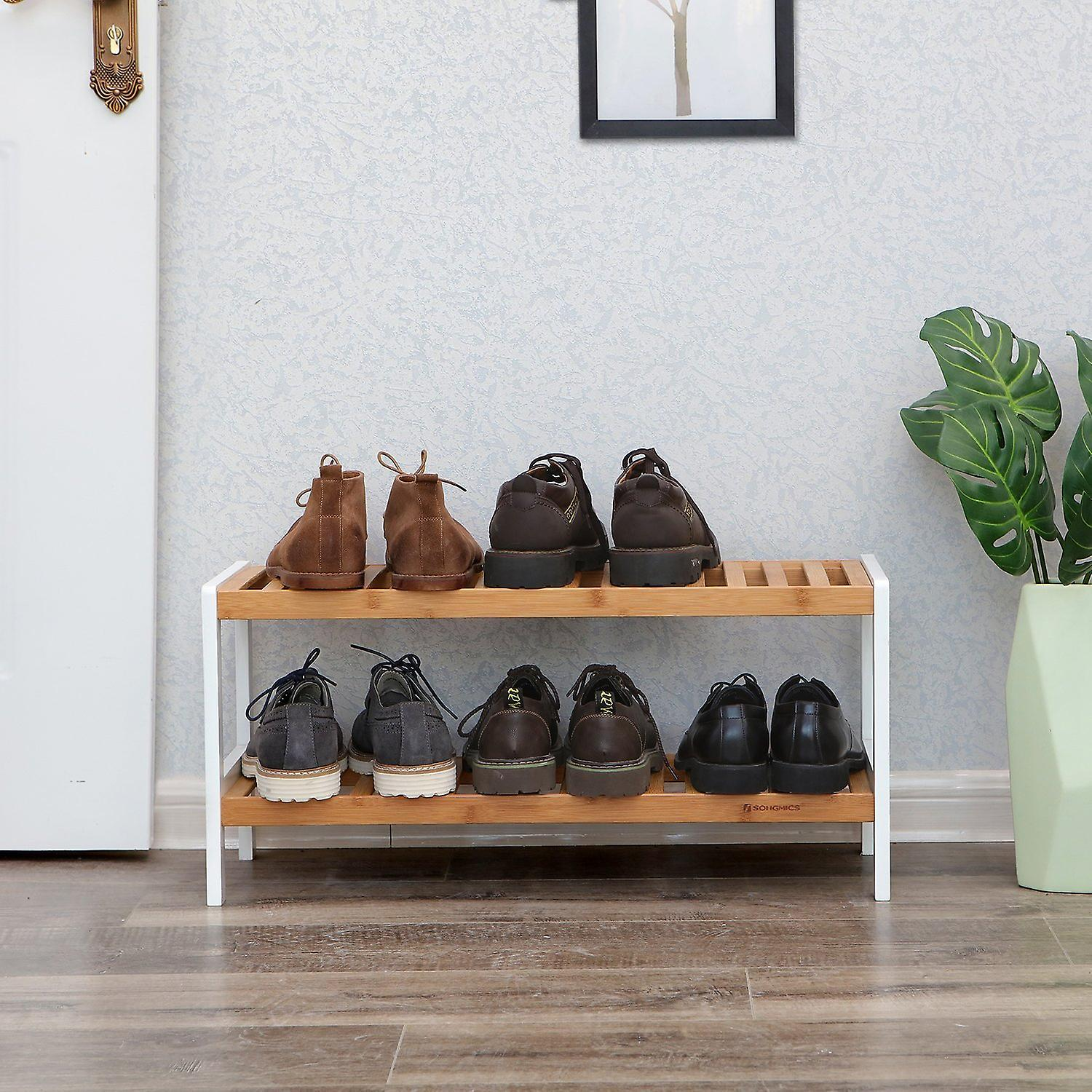 Bamboo Storage rack/Shoe rack-2-ply-natural/white