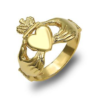 Jewelco London Men's Solid 9ct Yellow Gold Claddagh (Chladaigh) Ring