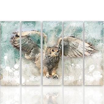 Five Part Picture On Canvas, Pentaptych, Type C, Owl In Flight