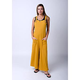 Amber loose fit jersey dungarees gold