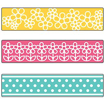Sizzix Textured Impressions A2 Embossing Folder W/3 Borders-Flowers & Dots By Stephanie Barnard 660393