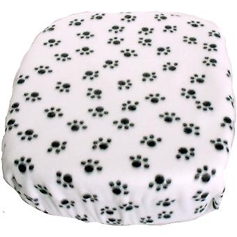 FidoRido Fleece Cover -White/Black Paw Prints FIDOFC-FCWB