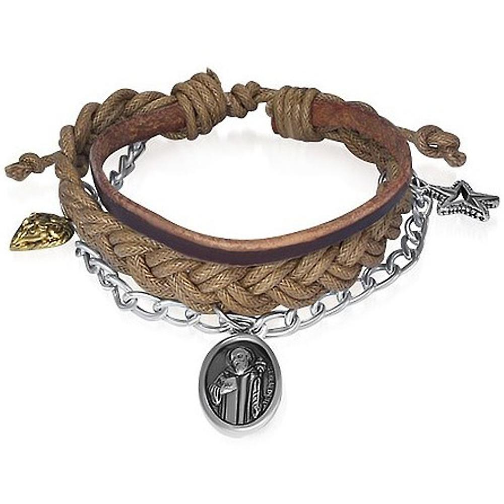 Urban Male Multi Strand Leather & Cord Charm Design Bracelet