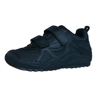 Geox J attaque A garçons formateurs de cuir / chaussures - noir