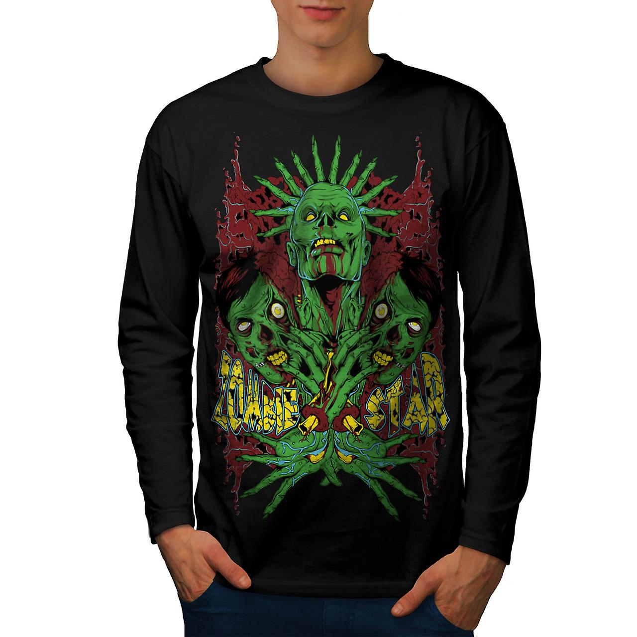 Monster Zombie Star Nightmare Men Black Long Sleeve T-shirt | Wellcoda