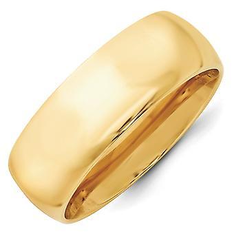 14k geel goud 8mm standaard Comfort Fit Band Ring - Ringmaat: 4 tot en met 14