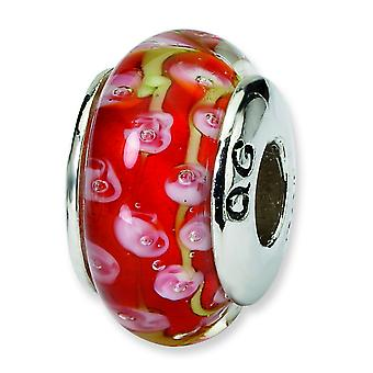 Sterling Silver Polished Antique finish Reflections Pink Red Murano Glass Bead Charm