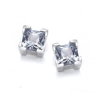 Cavendish French Sterling Silver and Aqua Crystal Square Earrings