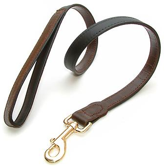 Yacare Leather Lead Brown 25mm X 100cm