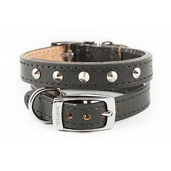 Heritage Diamond Leather Studded Collar Black 16mm X22-26cm