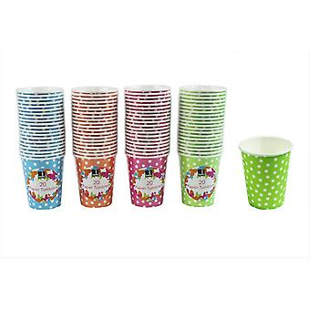 Papir tumblere Pack af 80 engangsartikler Party bordservice Polka Dot drikke kopper Bello