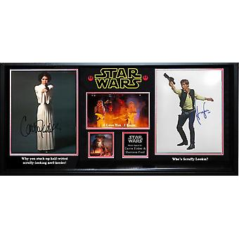 Star Wars Princess Leia and Han Solo Signed Photos - in Wood Frame