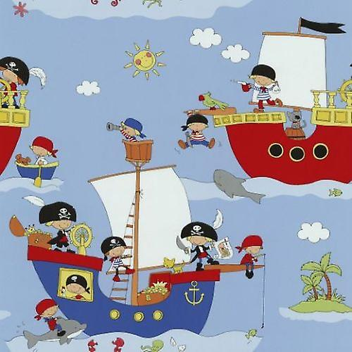 Pirates Wallpaper Children's Boats Ships Textured Blue White Multi P+S