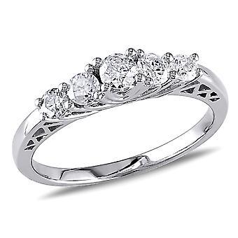 Diamond Engagement Ring 1/2 Carat (ctw) in 10K White Gold