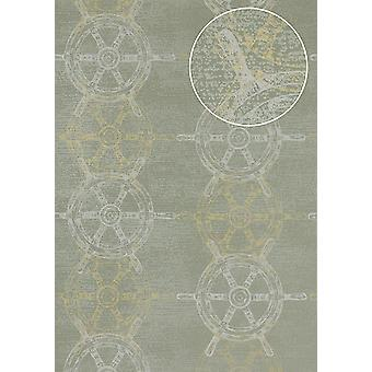 Graphic wallpaper Atlas SIG-585-5 non-woven wallpaper smooth in a maritime design and metallic accents gray green grey white gold 5.33 m2
