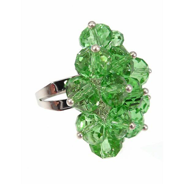 W.A.T Green Crystal Bead Cluster Ring
