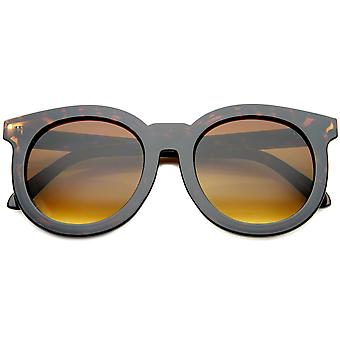 Women's Chic Oversized Horn Rimmed Flat Lens Round Sunglasses 64mm