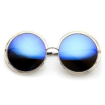 Large Round Metal Ringed Oversized Sunglasses